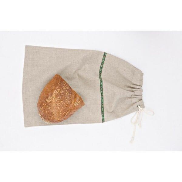 Ľanové vrecúško na chlieb - zelená krojovka