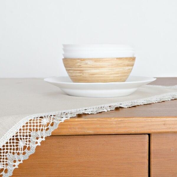 Obrus - praný ľan režný s ľanovou krajkou