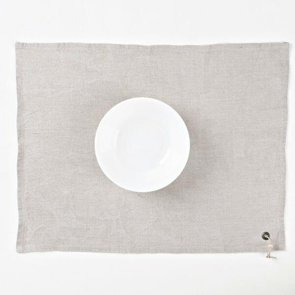 Prestieranie - praný režný ľan s korálkou