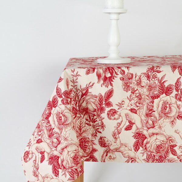 Obrus - červený barokový anjel veľký vzor