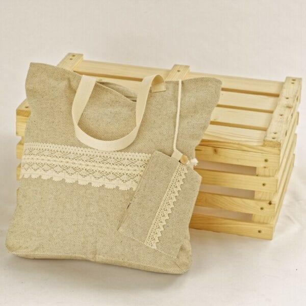 Ľanová taška s čipkou