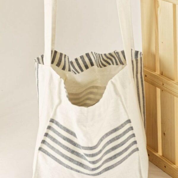 Ľanová taška biela s modrými pásmi