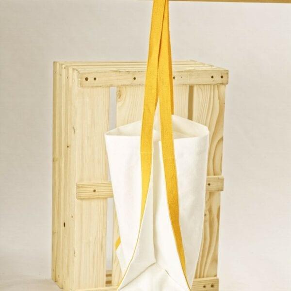 Ľanová taška biela so žltými popruhmi