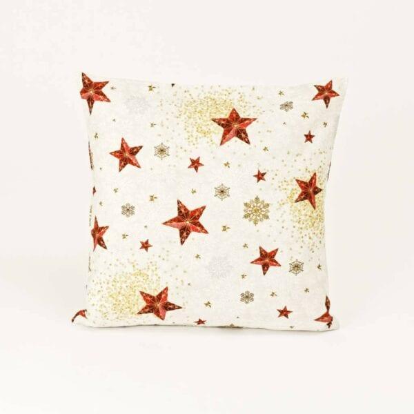 Vianočný vankúš z bavlny - hviezdy a vločky