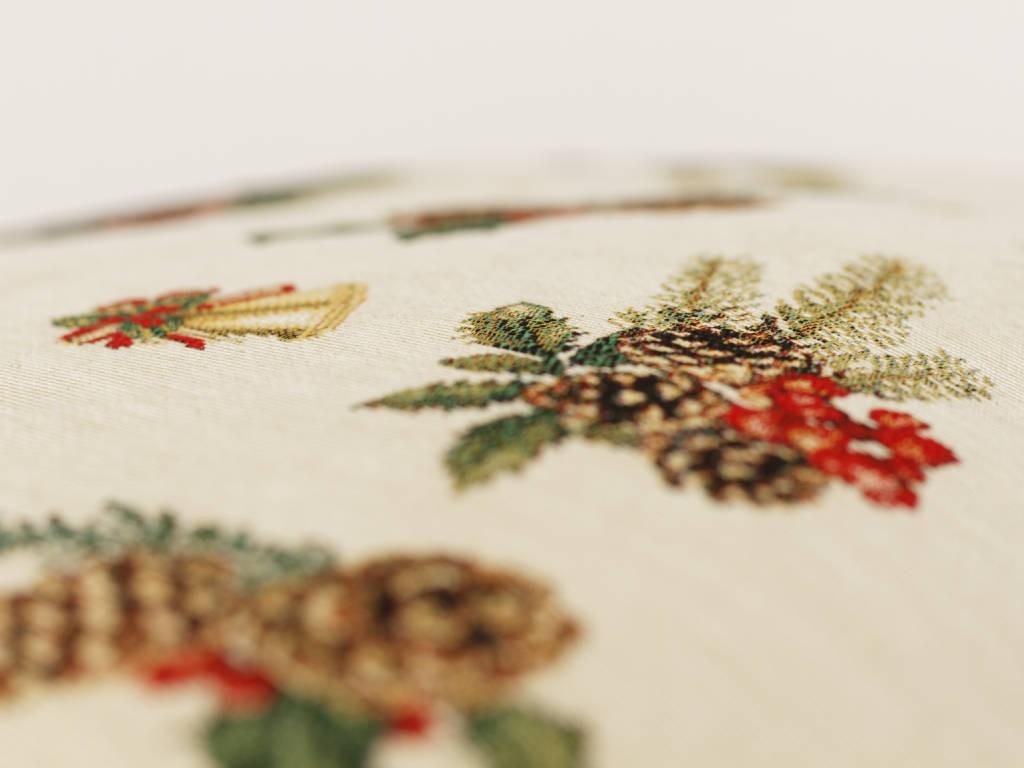 Gobelínový vianočný vankúš šišky a zvončeky