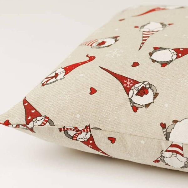 Vianočný vankúš bavlnený režný - škriatok