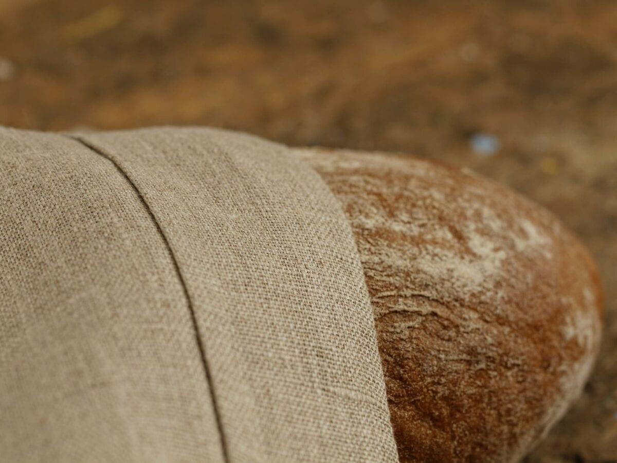 Ľanové vrecúško na chlieb - hnedá krojovka