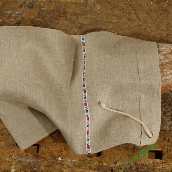 Ľanové vrecúško na chlieb - biela krojovka