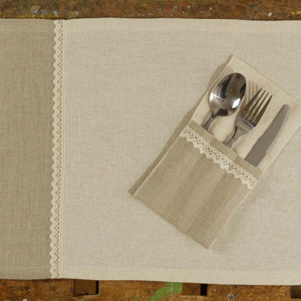 Prestieranie 2ks - Natur/Ivory ľan s čipkou