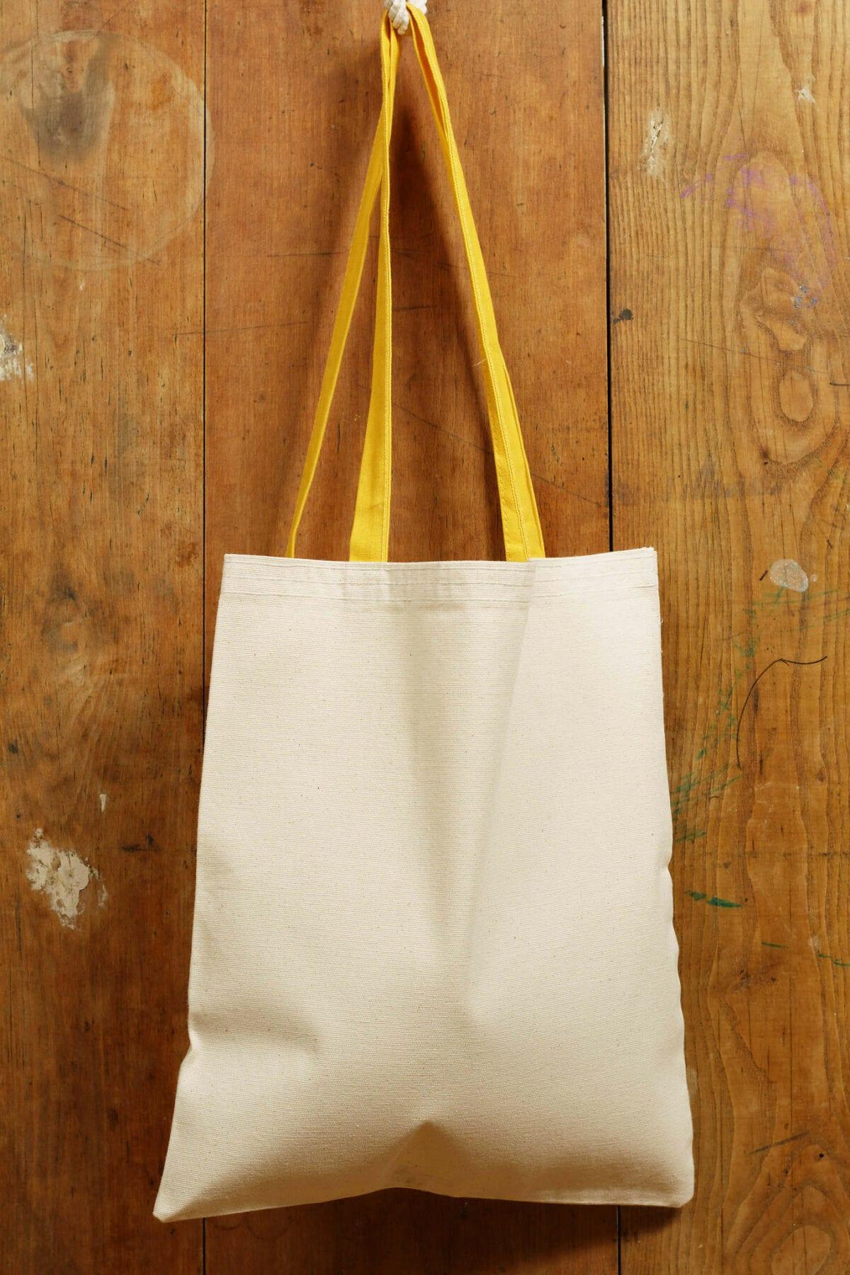 Bavlnená taška - žltý popruh