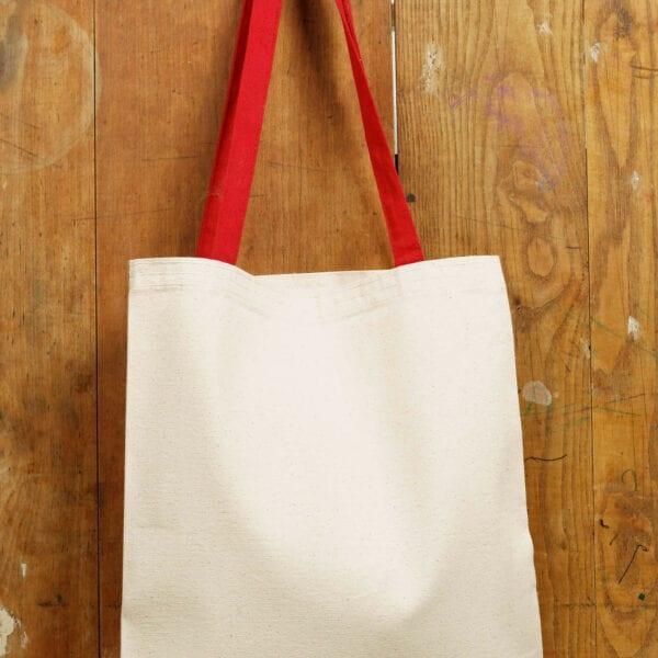 Bavlnená taška - červený popruh
