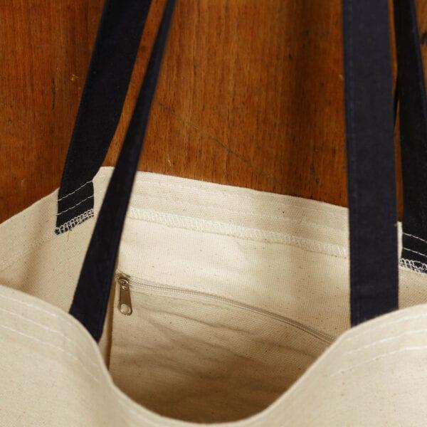 Bavlnená taška -modrý popruh